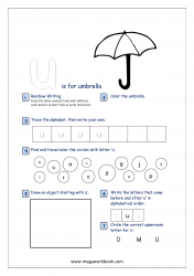 Lowercase Alphabet Recognition Activity Worksheet - Small Letter - u for umbrella