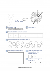 Lowercase Alphabet Recognition Activity Worksheet - Small Letter - y for yarn