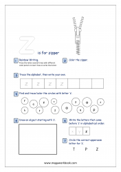 Lowercase Alphabet Recognition Activity Worksheet - Small Letter - z for zebra