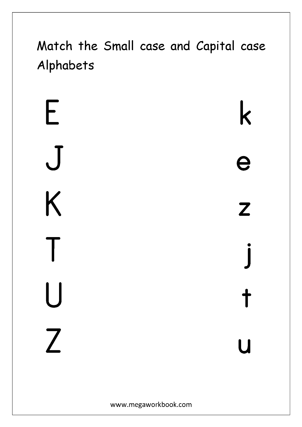 Free English Worksheets Alphabet Matching MegaWorkbook