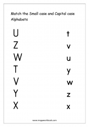 English Worksheet - Match Small And Capital Letters