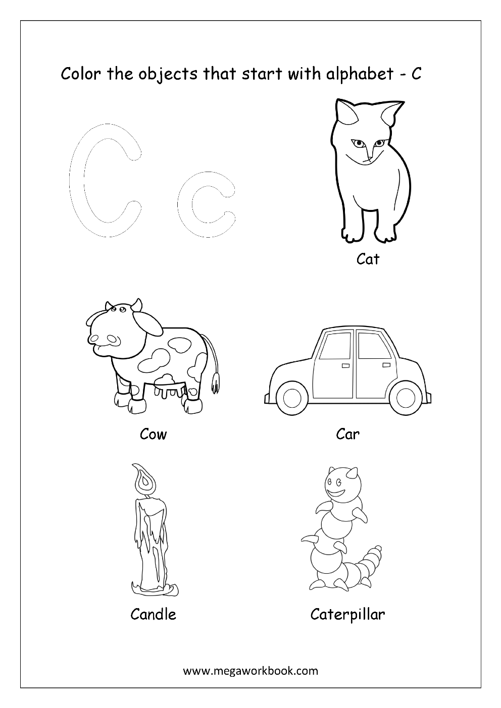 Free English Worksheets - Alphabet Picture Coloring ...