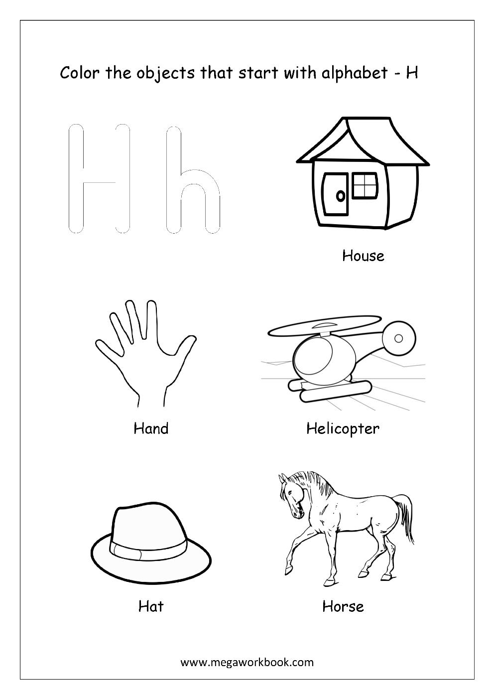 Free english worksheets alphabet picture coloring megaworkbook english worksheet color the objects starting with alphabet h altavistaventures Images