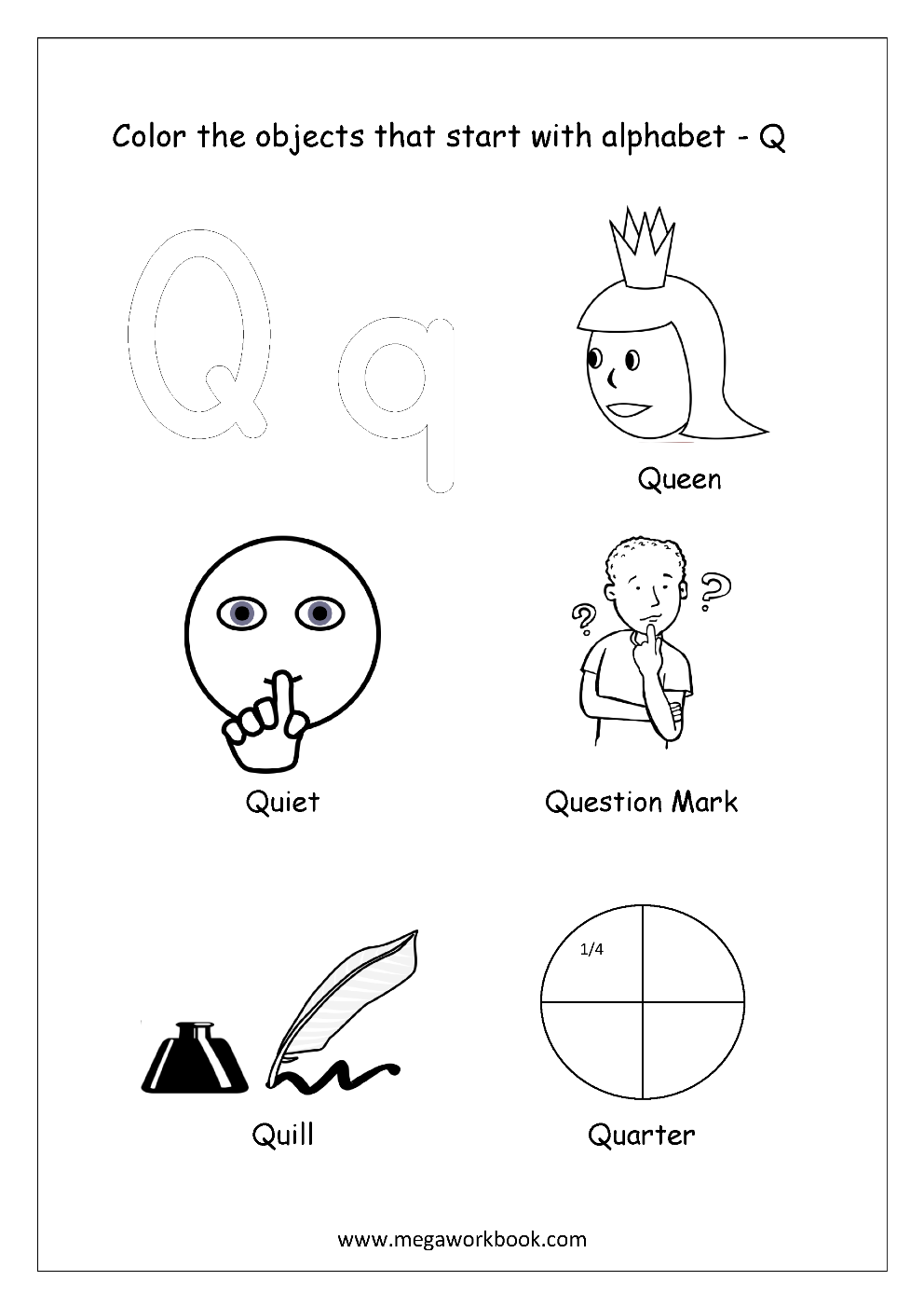 coloring pages starting with q | Alphabet Picture Coloring Pages - Things That Start With ...