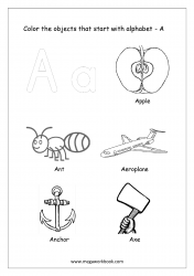 English Worksheet - Color The Objects Starting With Alphabet A