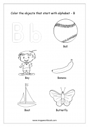 English Worksheet - Color The Objects Starting With Alphabet B