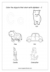 English Worksheet - Color The Objects Starting With Alphabet C