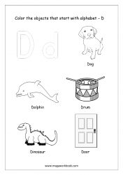 English Worksheet - Color The Objects Starting With Alphabet D