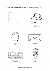 English Worksheet - Color The Objects Starting With Alphabet E