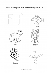 English Worksheet - Color The Objects Starting With Alphabet F