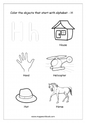 English Worksheet - Color The Objects Starting With Alphabet H