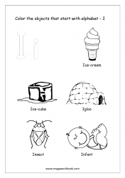 English Worksheet - Color The Objects Starting With Alphabet I