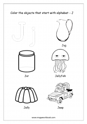 English Worksheet - Color The Objects Starting With Alphabet J