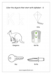 English Worksheet - Color The Objects Starting With Alphabet K