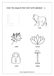 English Worksheet - Color The Objects Starting With Alphabet L