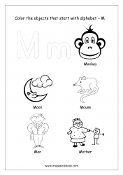 English Worksheet - Color The Objects Starting With Alphabet M