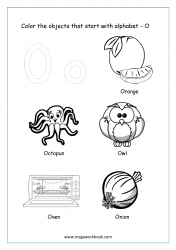English Worksheet - Color The Objects Starting With Alphabet O