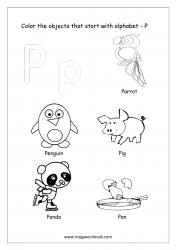 English Worksheet - Color The Objects Starting With Alphabet P