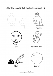 English Worksheet - Color The Objects Starting With Alphabet Q