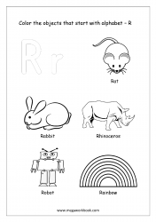 English Worksheet - Color The Objects Starting With Alphabet R