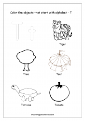 English Worksheet - Color The Objects Starting With Alphabet T