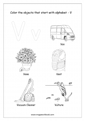 English Worksheet - Color The Objects Starting With Alphabet V