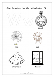 English Worksheet - Color The Objects Starting With Alphabet W