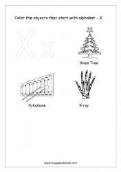 English Worksheet - Color The Objects Starting With Alphabet X