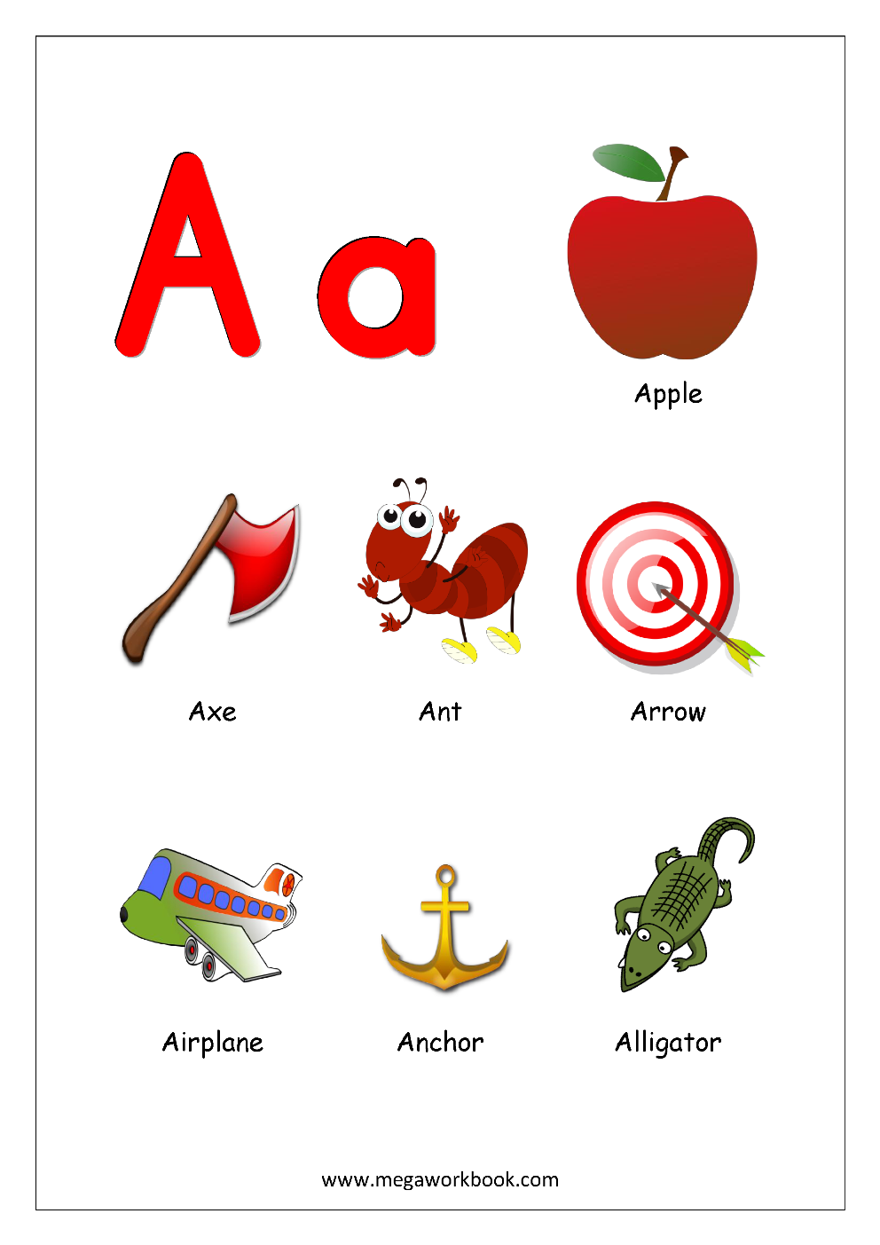Free Printable Alphabet Reading Pages   Things That Start With A