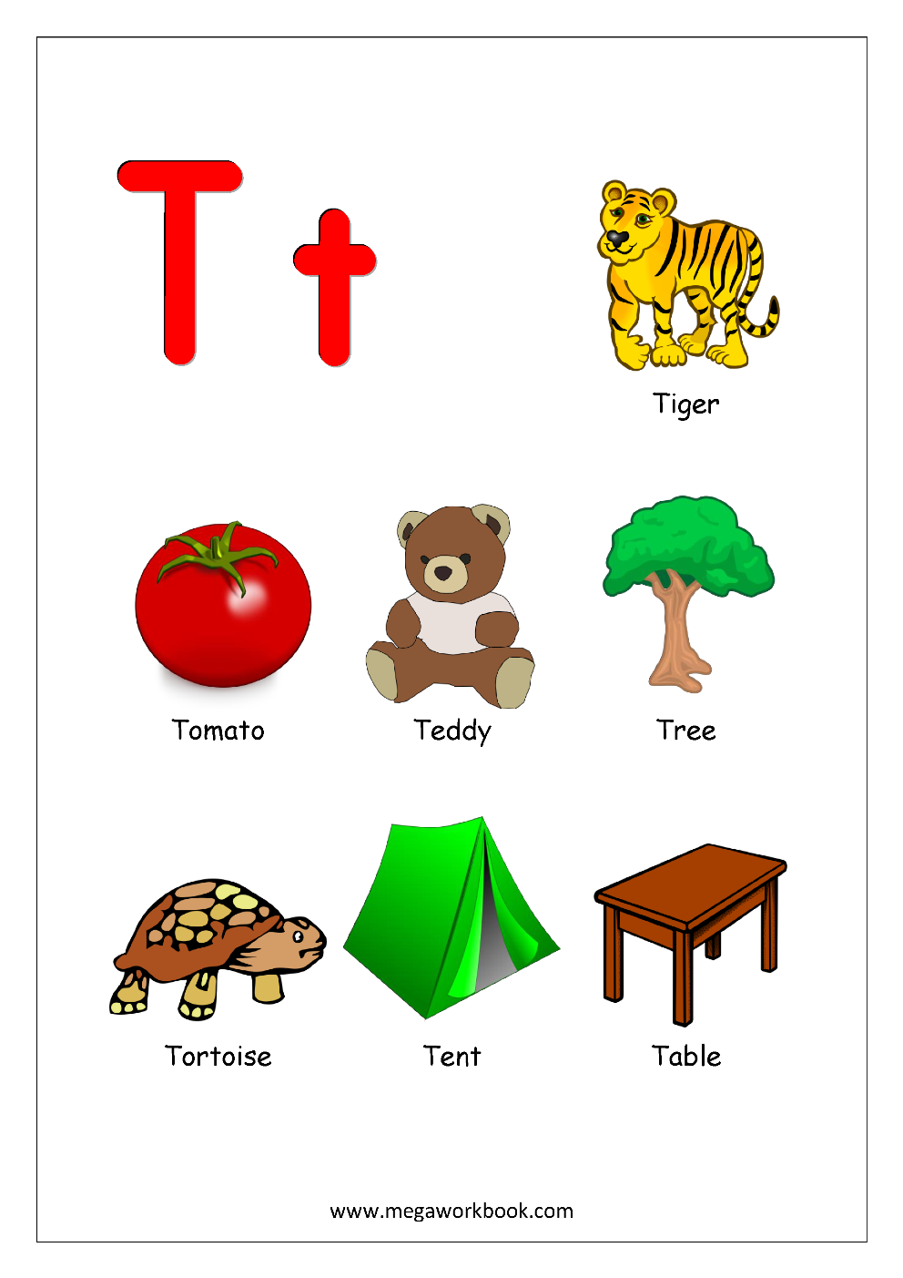 Letter Things Beginning With T