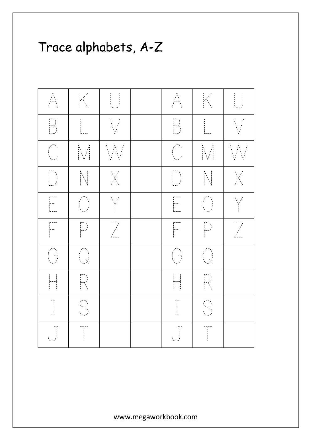 Worksheets Printable Alphabet Worksheets A-z free english worksheets alphabet tracing capital letters worksheet a to z