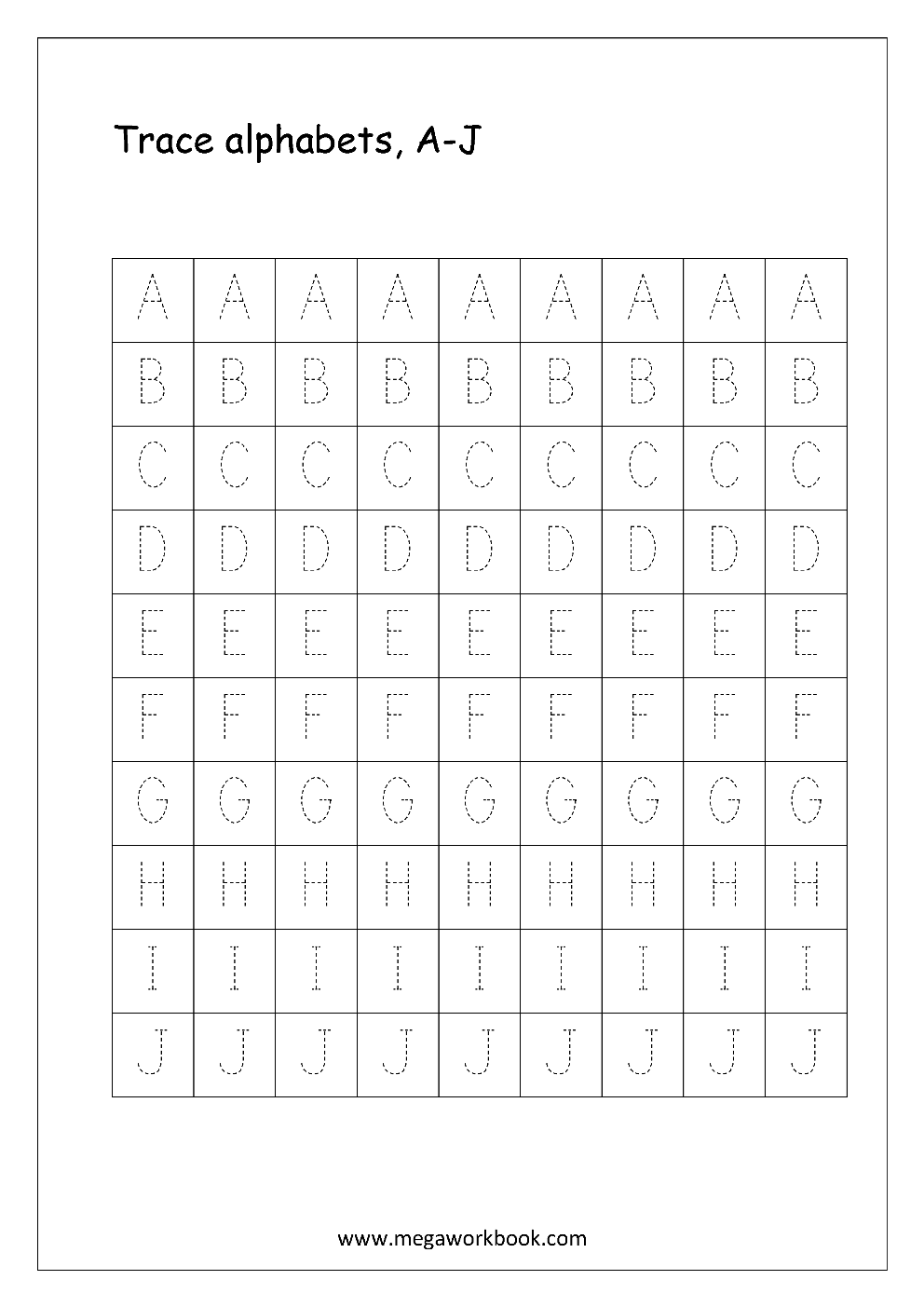 worksheet Trace The Letter S Worksheets free english worksheets alphabet tracing capital letters worksheet a to j