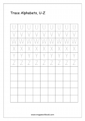 English Worksheet - Alphabet Tracing - Capital Letters U to Z