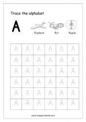 English Worksheet - Alphabet Tracing - Capital Letter A