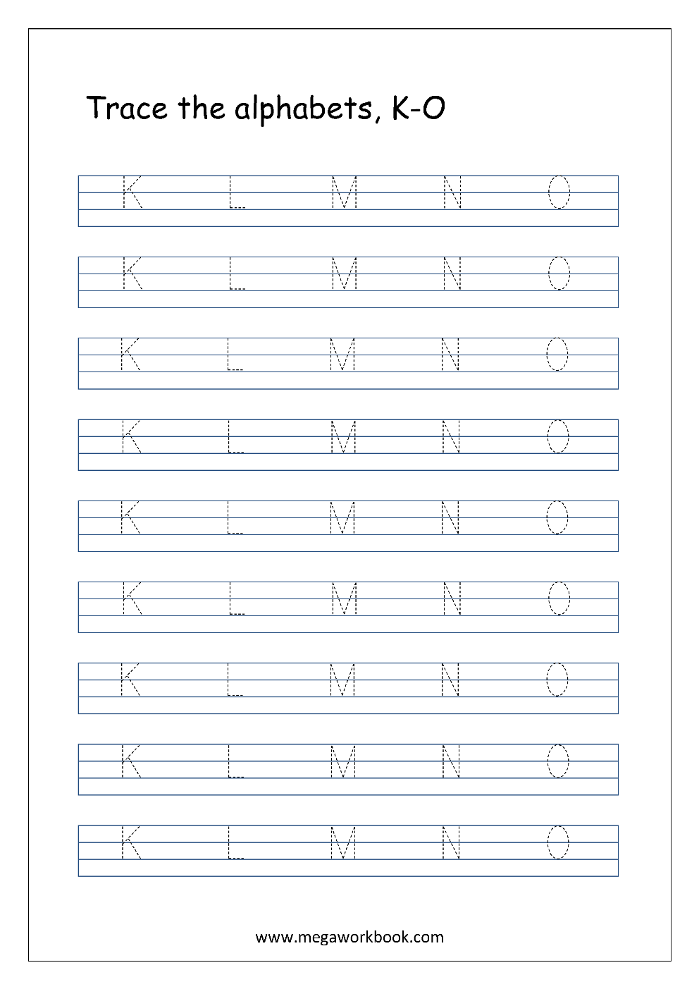 picture about Red and Blue Lined Handwriting Paper Printable titled Tracing Letters - Alphabet Tracing - Cash Letters - Totally free
