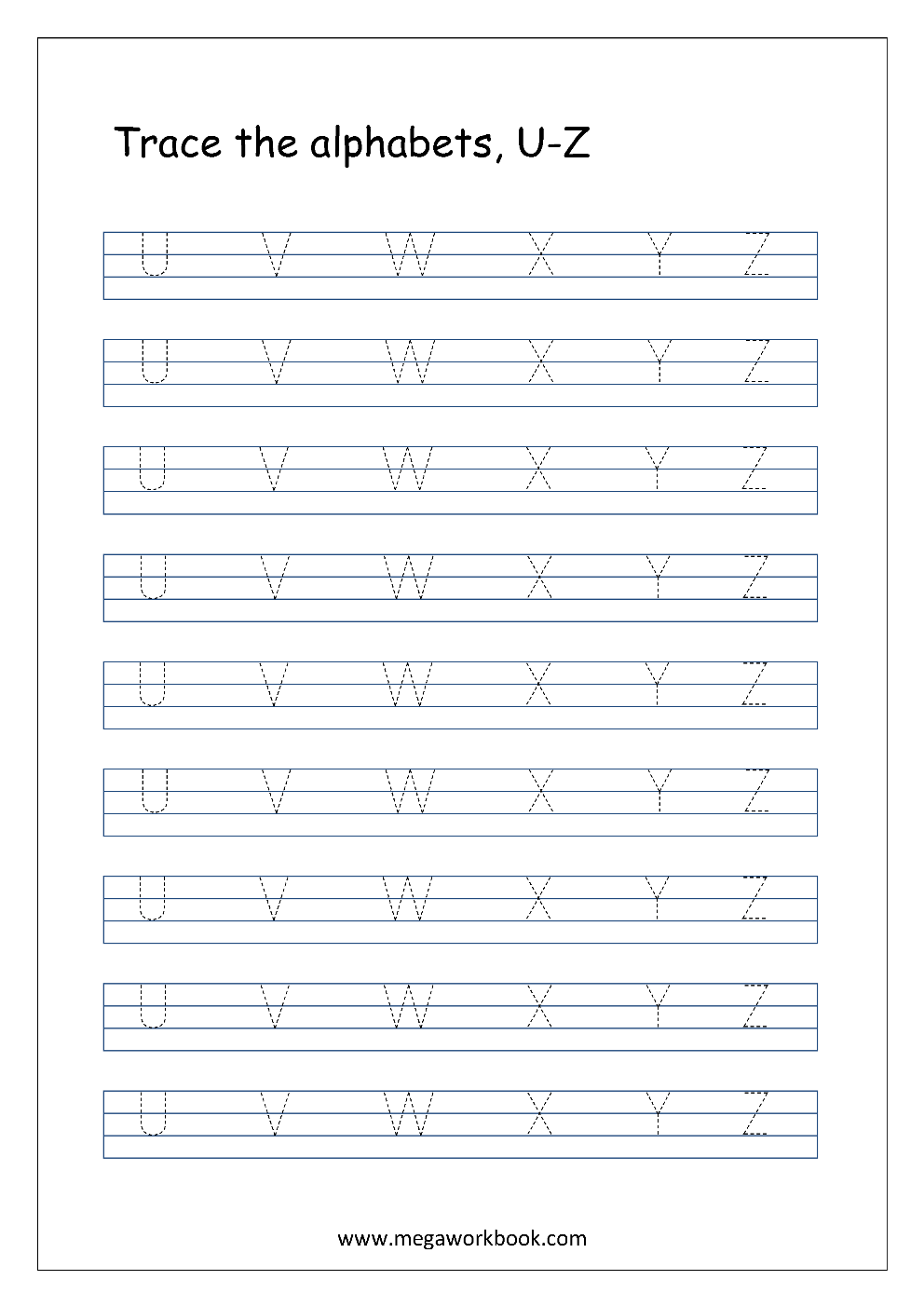 Worksheet Letters For Tracing free english worksheets alphabet tracing capital letters worksheet u to z