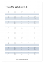 English Worksheet - Alphabet Tracing - Capital Letters A to E