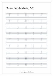 English Worksheet - Alphabet Tracing - Capital Letters F to J