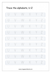 Tracing Letters - Letter Tracing Worksheet - Capital Letters U to Z