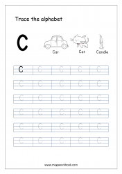 English Worksheet - Alphabet Tracing - Capital Letter C