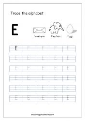 English Worksheet - Alphabet Tracing - Capital Letter E