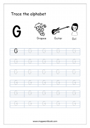 English Worksheet - Alphabet Tracing - Capital Letter G