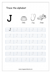 English Worksheet - Alphabet Tracing - Capital Letter J