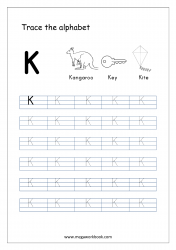 English Worksheet - Alphabet Tracing - Capital Letter K
