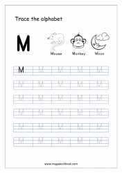 English Worksheet - Alphabet Tracing - Capital Letter M