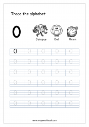 English Worksheet - Alphabet Tracing - Capital Letter O