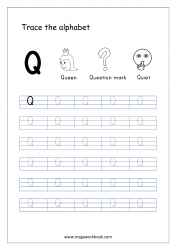 English Worksheet - Alphabet Tracing - Capital Letter Q