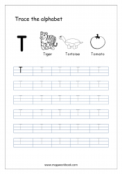 English Worksheet - Alphabet Tracing - Capital Letter T