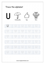 English Worksheet - Alphabet Tracing - Capital Letter U