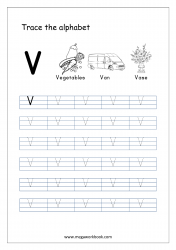 English Worksheet - Alphabet Tracing - Capital Letter V